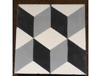 Assorted Black and White Encaustic Tiles