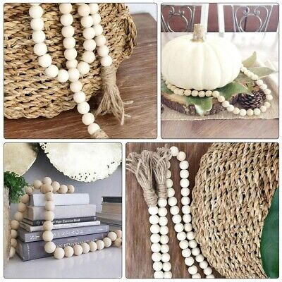 Wood Bead Garland with Tassels Farmhouse Beads Rustic Country Home Decor NEW