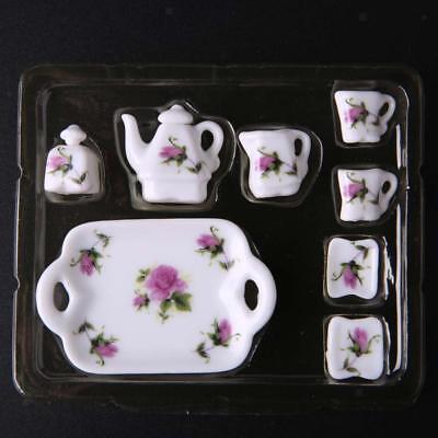1/12 Dollhouse Miniature Dining Ware Porcelain Dish/Cup/Plate Tea Set 8pcs