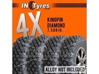 4x 7.50R16 Kingpin Highlander Diamond Off Road Mud Terrain MT 4X4 Tyres x4