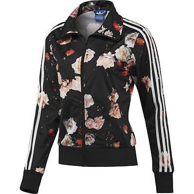 (New Firebird Roses Flower Print Track Top Women Black Jacket F78292)