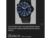 Gevril deep diver swiss automatic watch , brand new