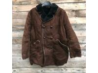 vintage Sheepskin leather car coat super warm