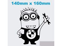BMW Minion Worker Car Sticker Decal Vinyl BMW Honda Ford VW wag Funny JDM Dope