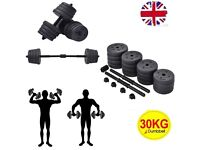 Costway 2 in 1 Dumbbell & Barbell Set 30KG Body Revolution Vinyl Bar Home Gym Fitness Weights