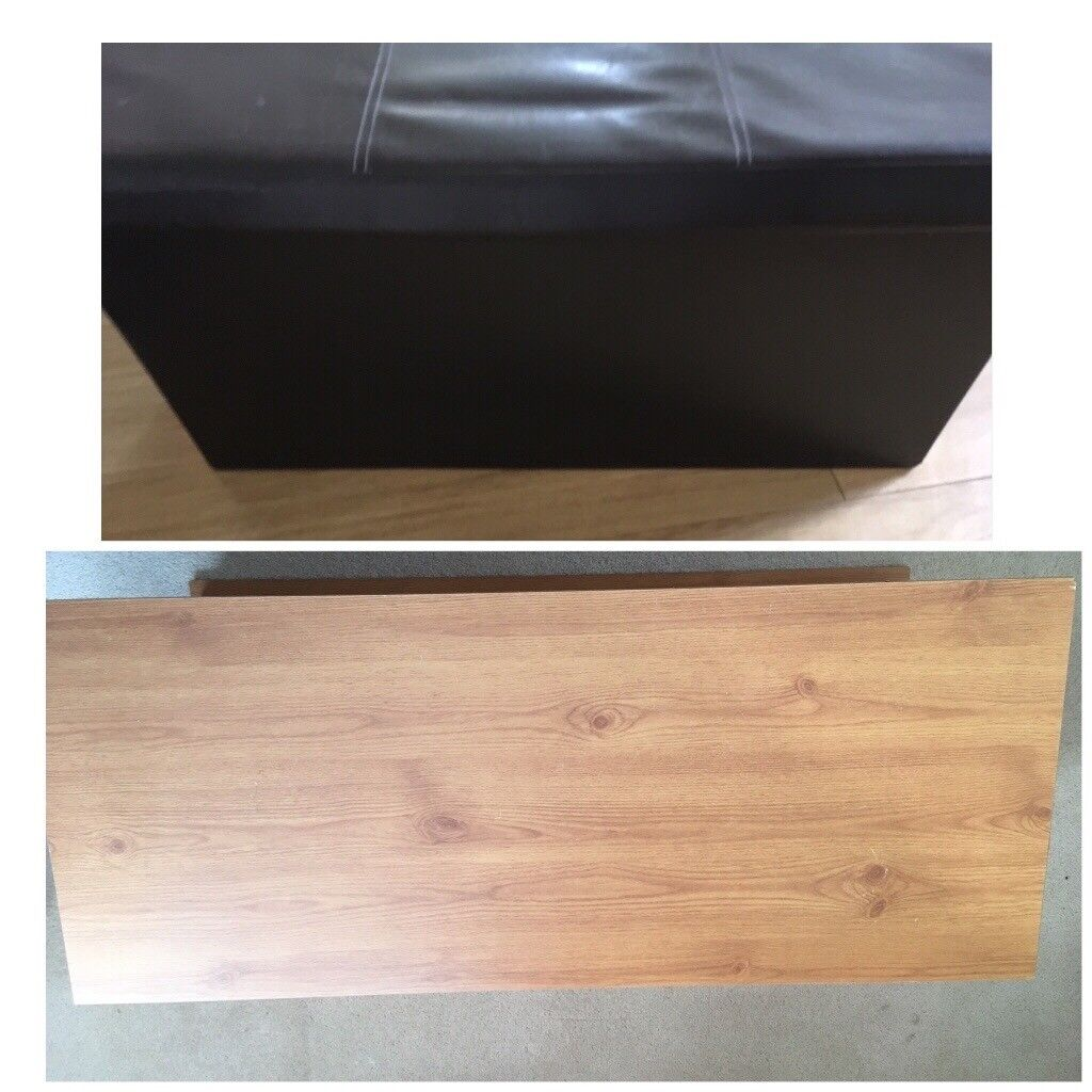 Large Sized Wooden And Faux Leather Storage Chest Bo