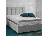 🔵💖🔴DISCOUNT SALE OFFER🔵💖🔴CRUSH VELVET DIVAN BED WITH MATTRESS SINGLE,DOUBLE/KING SIZE