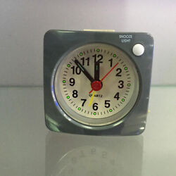 Small Battery Operated Analog Travel Alarm Clock No Ticking Clock Grey