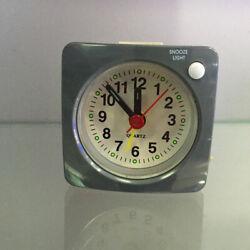 Small Battery Operated Analog Travel Alarm Clock No Ticking Clock Grey