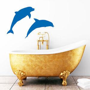 10036-Pegatina-pared-2-Delfines-dolphin-Marino-Oceano-Mundo-Acuatico
