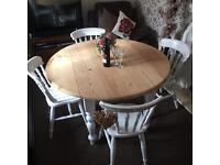 Shabby chic round drop leaf Dining table and 4 chairs
