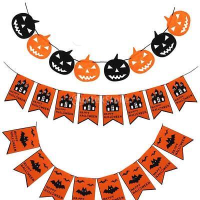 Happy Halloween Pumpkin Bats Pennant Bunting Felt Banner Garland Hanging Décor - Happy Halloween Birthday Banner