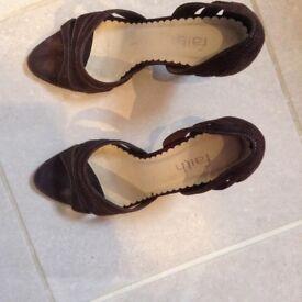 Faith open toe brown suede heels