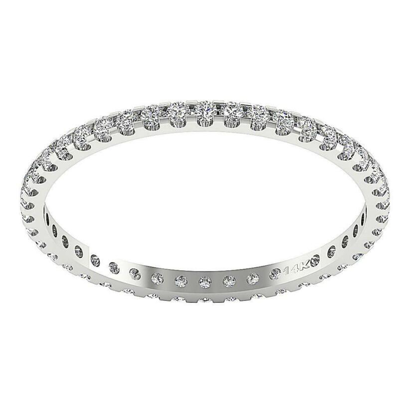 Eternity Engagement Ring VVS1 E 0.55 Ct Round Diamond 14K White Gold Prong Set