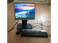 "HP 17"" colour monitor with cables keyboard and mouse"