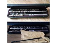 Flute Yamaha, music stand, flute stand with books and carry bags.