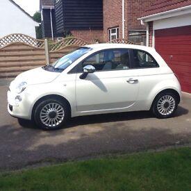 White Fiat 500 1.2 POP. FSH, MOT 'til mid Dec, Low Mileage, Lady Owner, Very Nice Condition.