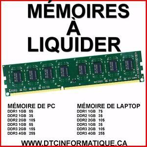 MÉMOIRE D'ORDINATEUR PC DDR1 DDR2 1GB 2GB 6400 5300