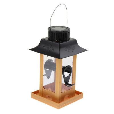 Solar Power LED Lighting Pet Birds Parrots Budgie Pigeon 12x12x23cm Feeder