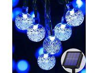 NEW Solar Lights Outdoor Garden, 23Ft 50LED Solar Fairy Lights Outdoor Waterproof, 8 Modes (Blue)