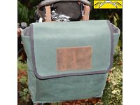 New Large Retro Canvas plus Leather Saddle Bag GREEN for any bikes FREE SHIPPING
