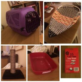Cat carrier, cat bed, litter tray & liner, scratching post