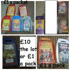 Top trumps cards £1 a pack or all 11 for £9 collection from didcot
