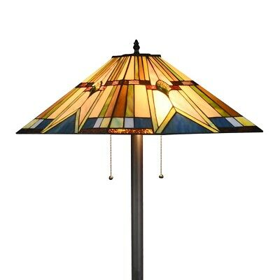 Tiffany Style Floor Lamp Mission Stained Glass Floor Standing Light Lighting UL ()