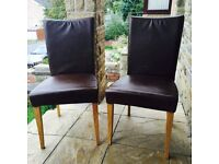 Pair of Brand New Schreiber REAL LEATHER Dining Chairs