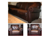 Leather Sofa and Two Armchairs in Brown Aged Leather (Three Seater Sofa and 2 Armchairs)