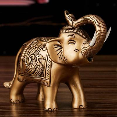 Chinese Traditional Money Lucky Fortune Elephant Decor Gold Copper