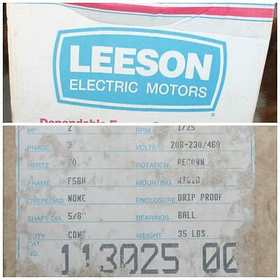 Leeson Motor 113025.00 2 Hp 1725 Rpm 3 Phase 208-230460 Volt E116756.00 Tn-19