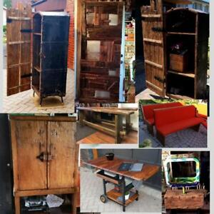 One of the kind Reclaimed Wood Furniture: Bar Cart, Solid Teak Armoire, Steamer Cabinet, Barn Door, Benches, Church Pews