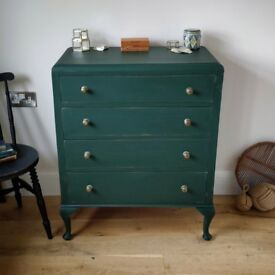 Vintage chest of drawers, Painted chest of drawers, hall drawers, living room drawers (1649)