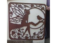 Rusted metal fairy screen- feature piece home or garden