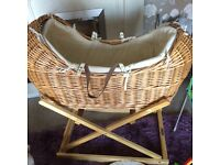 Luxury Moses basket and stand excellent condition with mattress to fit