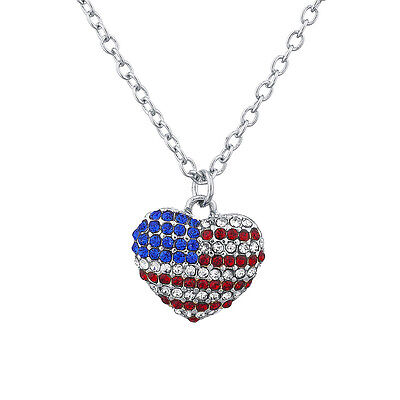 Lux Accessories Silvertone Pave American Flag Americana Heart Charm (American Flag Heart)