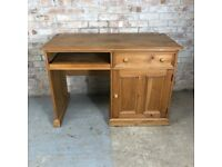 Solid Pine Home Office Computer Desk with Pullout Shelf Drawer and Cupboard