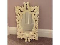 Shabby chic mirror, cream wood