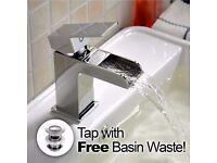 SQUARE WATERFALL BATHROOM BASIN SINK MONO MIXER CHROME TAP *FREE WASTE*WBGUMT