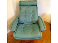 Ekornes Danish Leather Swivel Recliner Chair