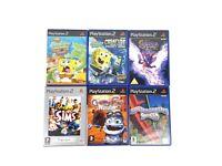Sony PlayStation 2 PS2 Games Sims Spyro Spongebob Crazy Frog Rollercoaster x6