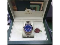 Silver Rolex Explorer I with Blue Face in Rolex Bag and Box