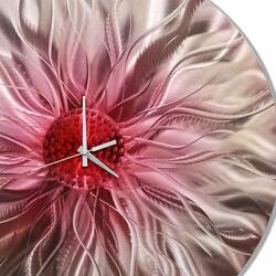 Contemporary Pink & Silver Round Circle Metal Wall Clock Modern Art Accent Decor
