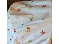 Moses basket, rocking stand and 10 fitted sheets