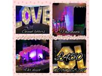 Photobooth,disco,giant love letters