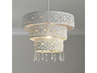 NEW Unique 3 Tier Moroccan White Jewelled Droplet Pendant Light Chandelier Cut Out