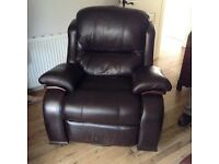 Dark brown leather full swivel/rocking reclining chair