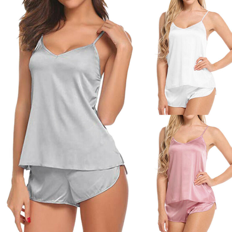 Women Sexy Lingerie Casual Cami Shorts Set Solid Satin Babyd