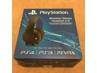 Sony Playstation PS4 PS3 Vita Wireless Stereo Headset 2.0. Black and Protective Carry Case. Like New